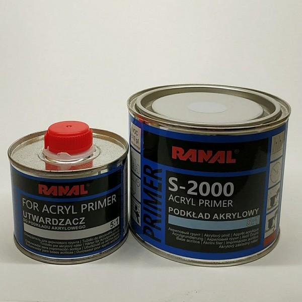 RANAL S-2000 Акриловый грунт 5+1 HS серый 0,4 л + 0,08 л отв