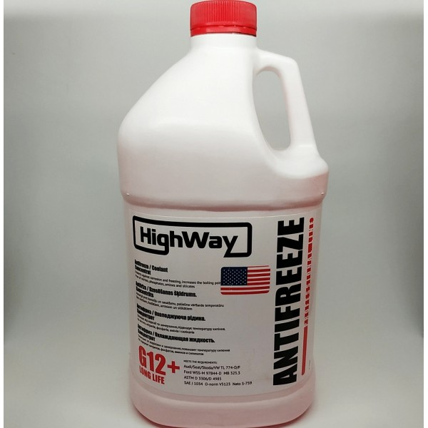 Рідина анти-замерзаюча HighWay Антифриз G12+концентрат червоний 3,78л